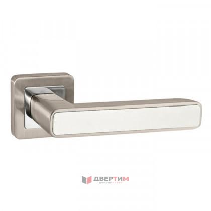 Ручка дверная MARS QR SN/WH-19 матовый никель/белый